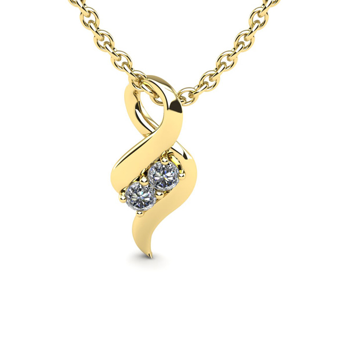 1/4 Carat Two Stone Two Diamond Intertwined Necklace in 14K Yellow Gold (1.6 g)