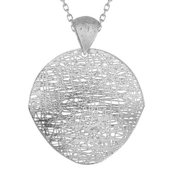 14K White Gold (3.5 g) 35mm Mesh Disc Necklace