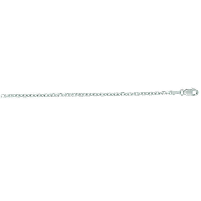 14K White Gold (6.4 g) 2.30mm 24 Inch Cable Link Chain Necklace UK - GOOFASH - Womens JEWELRY