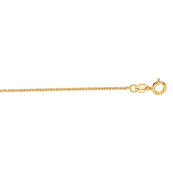 14K Yellow Gold (1.5 g) 1.10mm 17 Inch Cable Link Chain Necklace UK - GOOFASH - Womens JEWELRY