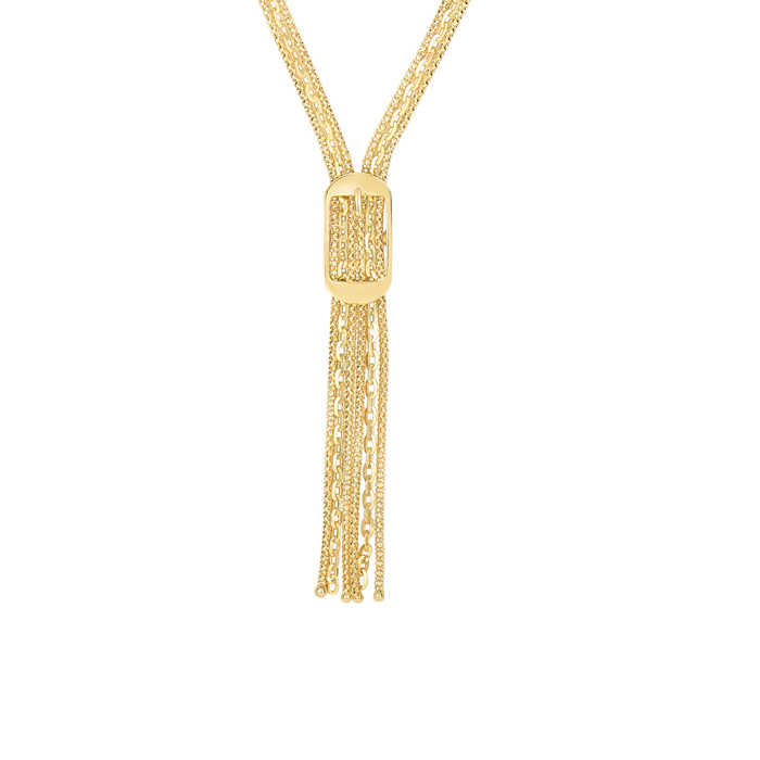 14K Yellow Gold (12.8 g) 17 Inch Lariat Necklace w/ Rectangle Buckle UK - GOOFASH - Womens JEWELRY