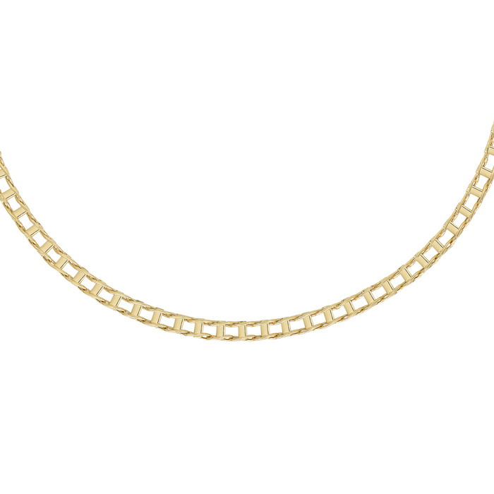 14K Yellow Gold (13.3 g) 5.0mm 20 Inch Shiny Railroad Style Men's Fancy Chain Necklace UK - GOOFASH - Mens JEWELRY