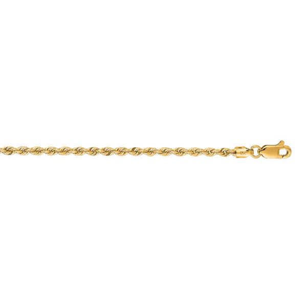 14K Yellow Gold (15.2 g) 2.5mm 30 Inch Solid Rope Chain Necklace UK - GOOFASH - Womens JEWELRY