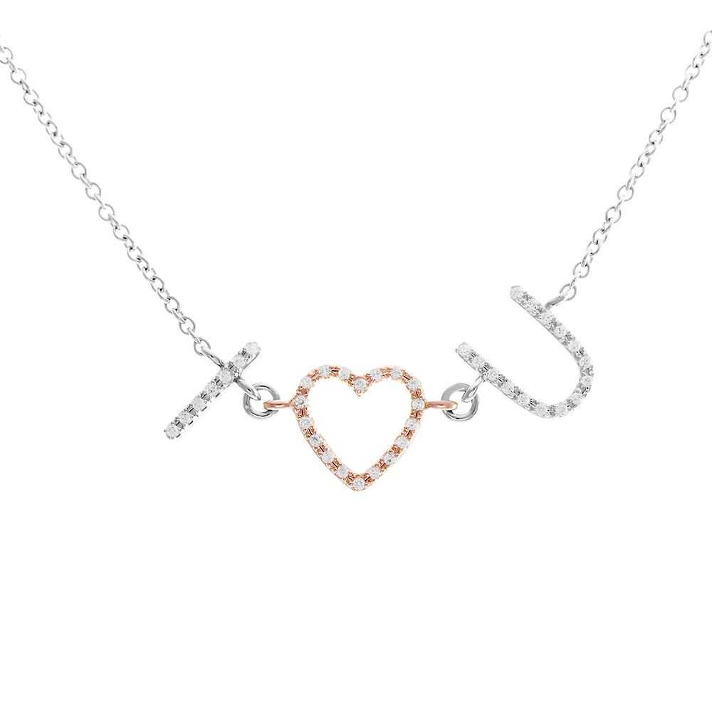 1/7 ct. tw. Diamond I ♥ U Necklace in Sterling Silver & 14K Rose Gold - Collection_Name USA - GOOFASH - Womens JEWELRY