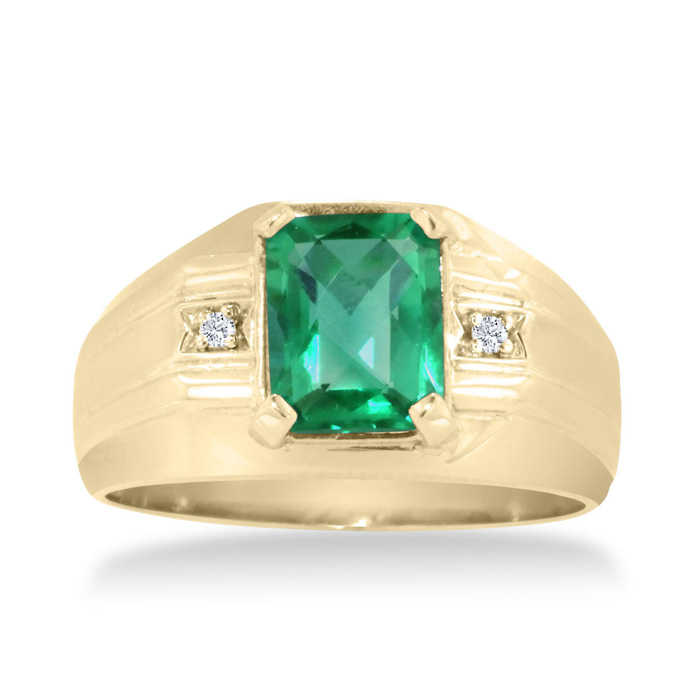 2 1/4 Carat Emerald Cut Created Emerald & Diamond Men's Ring Crafted in Solid Yellow Gold