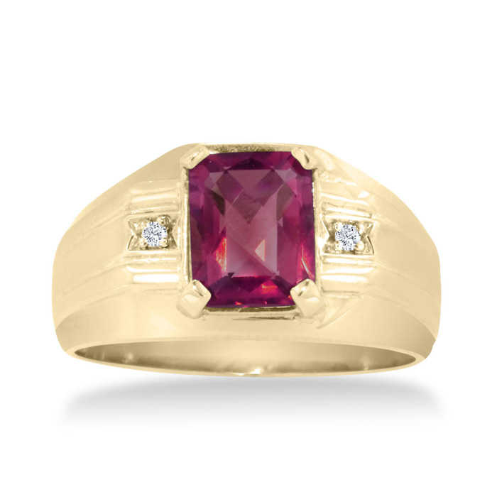 2 1/4 Carat Emerald Cut Created Ruby & Diamond Men's Ring Crafted in Solid 14K Yellow Gold