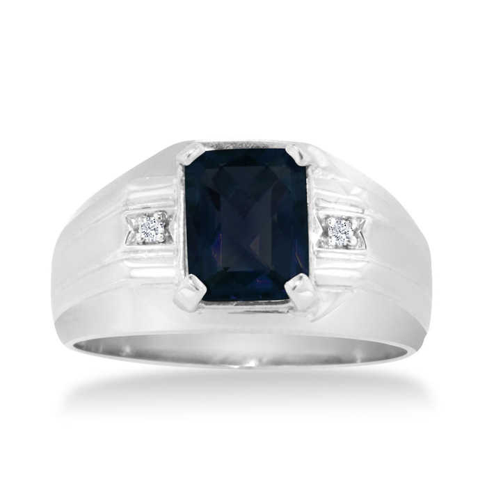 2 1/4 Carat Emerald Cut Created Sapphire & Diamond Men's Ring Crafted in Solid White Gold