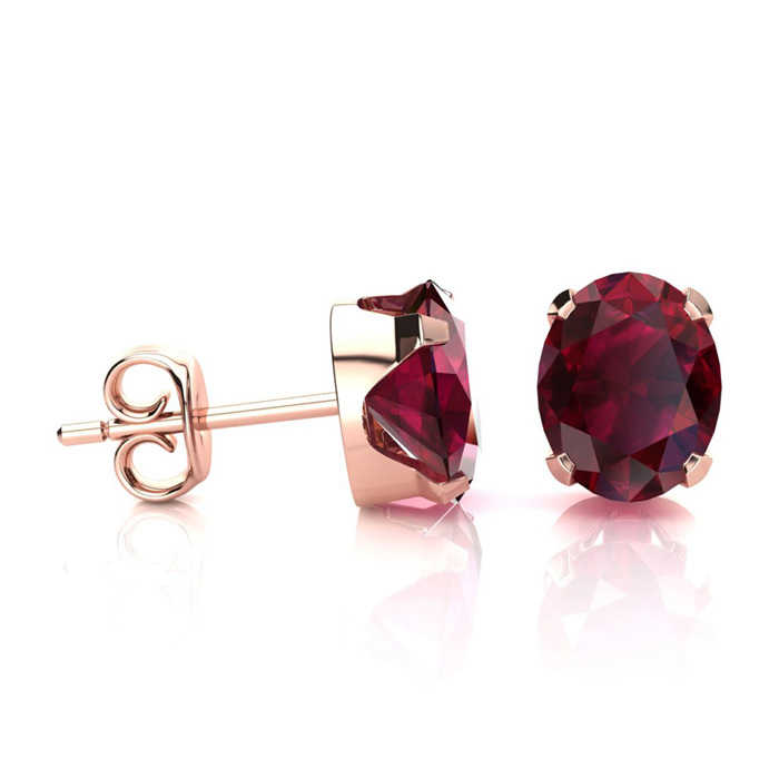 2 Carat Oval Shape Ruby Stud Earrings in 14K Rose Gold Over Sterling Silver UK - GOOFASH - Womens JEWELRY