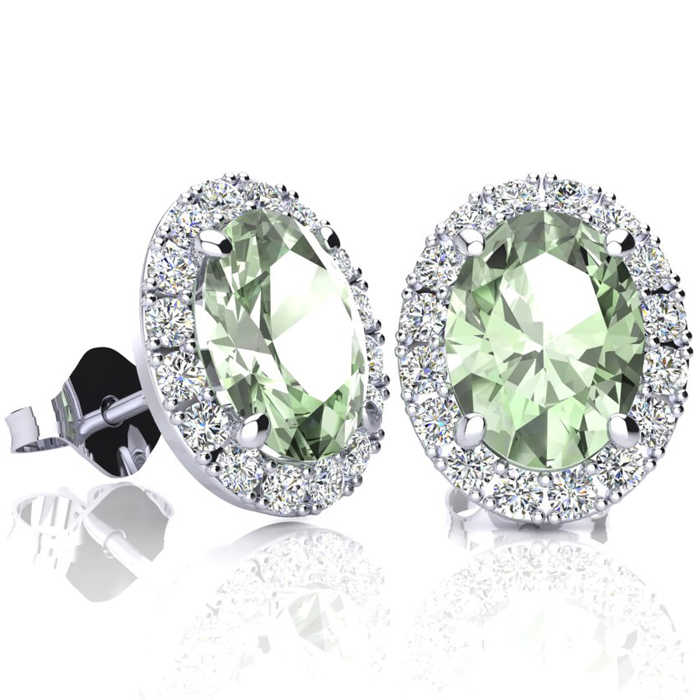 2.40 Carat Oval Shape Green Amethyst & Halo Diamond Stud Earrings in 14K White Gold