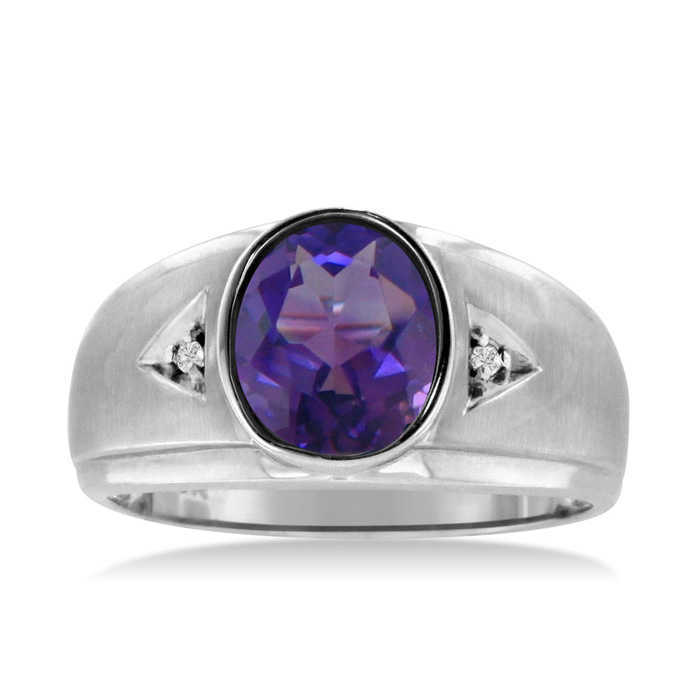 2.5 Carat Oval Amethyst & Diamond Men's Ring Crafted in Solid 14K White Gold