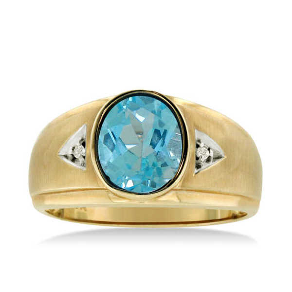 2.5 Carat Oval Blue Topaz & Diamond Men's Ring Crafted in Solid Yellow Gold