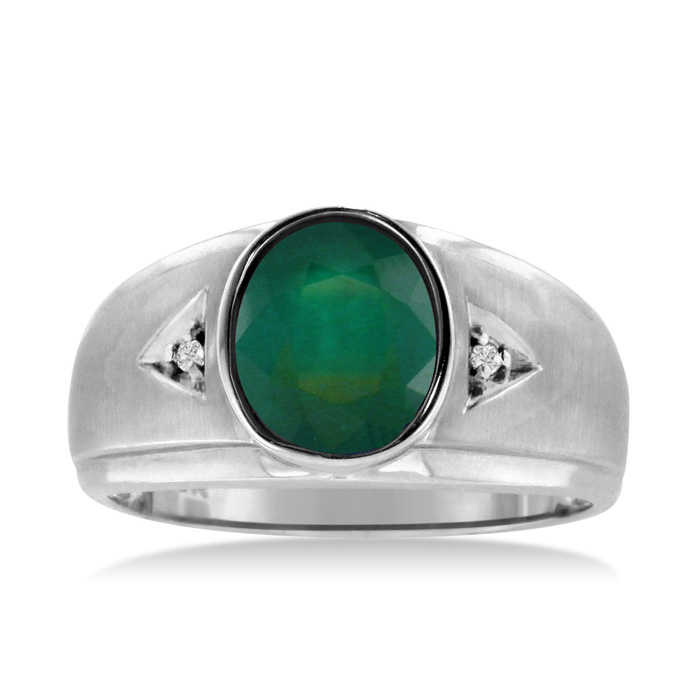 2.5 Carat Oval Created Emerald Cut & Diamond Men's Ring Crafted in Solid 14K White Gold