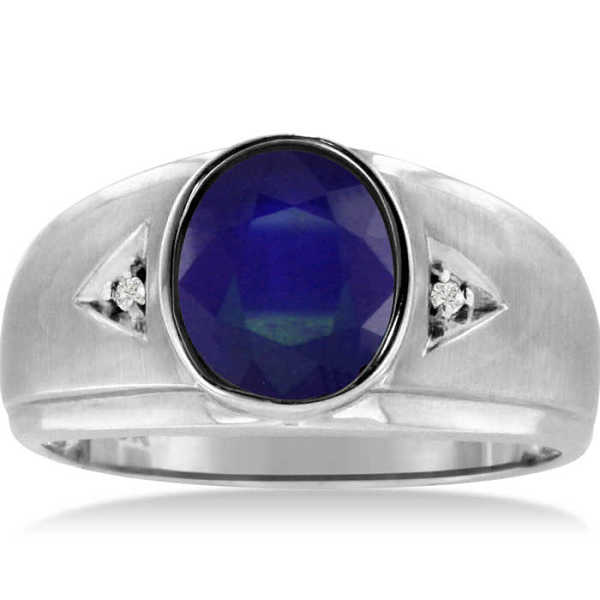 2.5 Carat Oval Created Sapphire & Diamond Men's Ring Crafted in Solid 14K White Gold