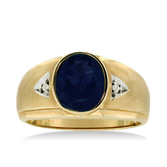 2.5 Carat Oval Created Sapphire & Diamond Men's Ring Crafted in Solid 14K Yellow Gold