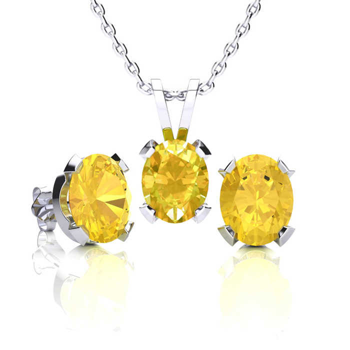 2.5 Carat Oval Shape Citrine Necklace & Earring Set in Sterling Silver UK - GOOFASH - Womens JEWELRY