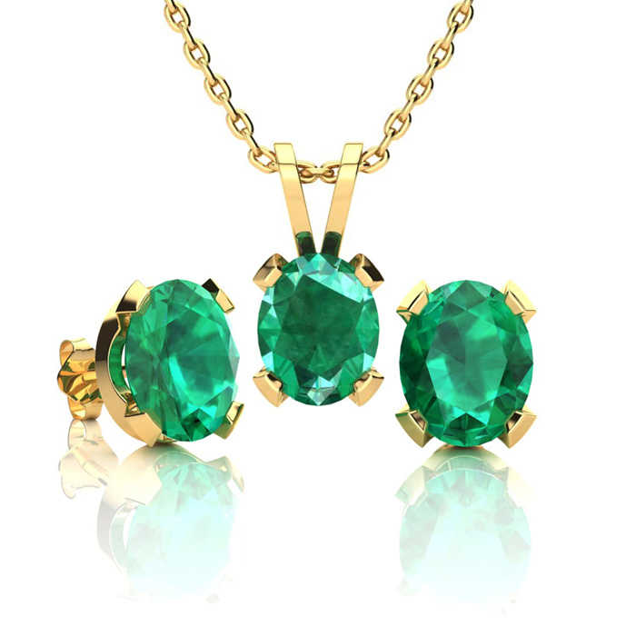 2.5 Carat Oval Shape Emerald Necklace & Earring Set in 14K Yellow Gold Over Sterling Silver UK - GOOFASH - Womens JEWELRY