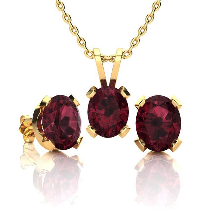 3 Carat Oval Shape Garnet Necklace & Earring Set in 14K Yellow Gold Over Sterling Silver UK - GOOFASH - Womens JEWELRY
