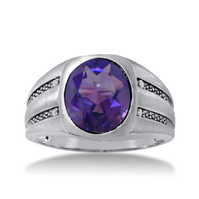 4 1/2 Carat Oval Amethyst & Diamond Men's Ring Crafted in Solid White Gold