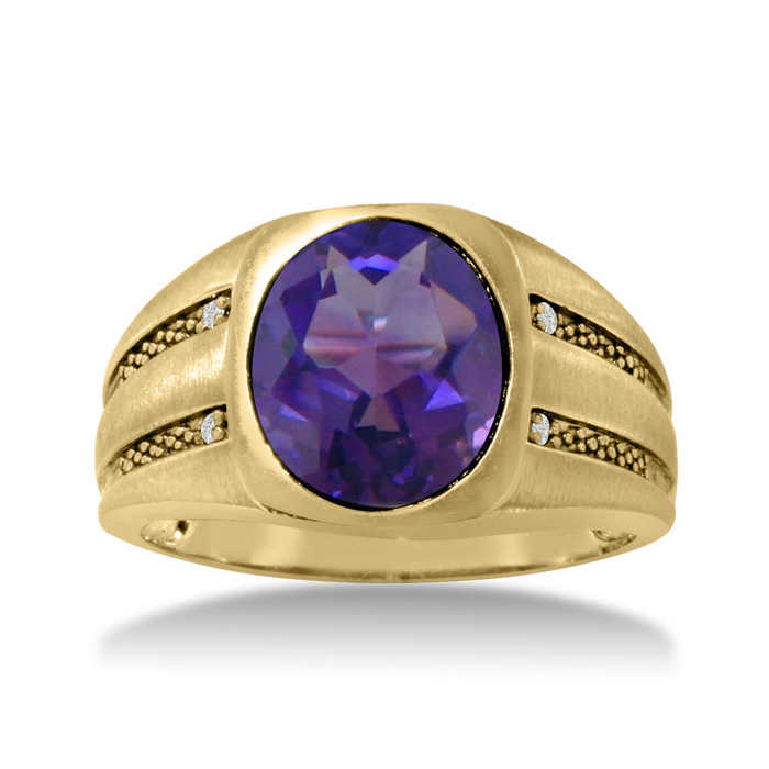 4 1/2 Carat Oval Amethyst & Diamond Men's Ring Crafted in Solid Yellow Gold