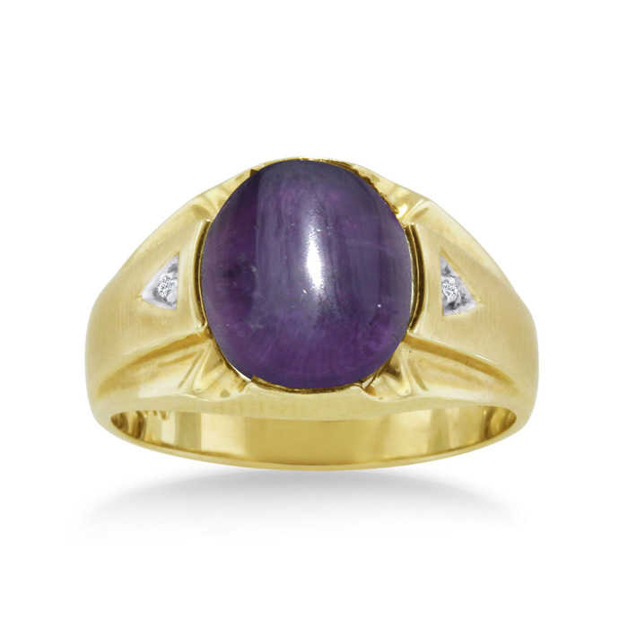 4 1/2 Carat Oval Cabochon Amethyst & Diamond Men's Ring Crafted in Solid Yellow Gold