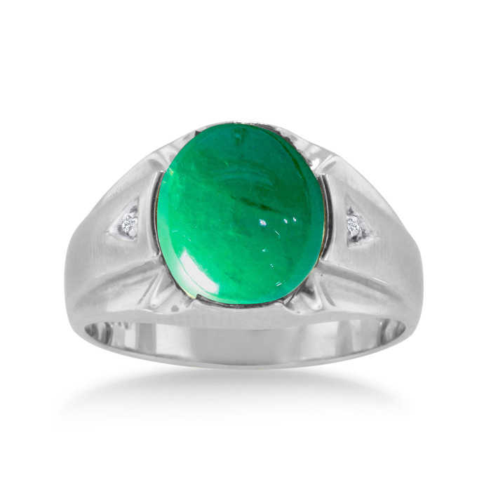 4 1/2 Carat Oval Cabochon Created Emerald Cut & Diamond Men's Ring Crafted in Solid 14K White Gold