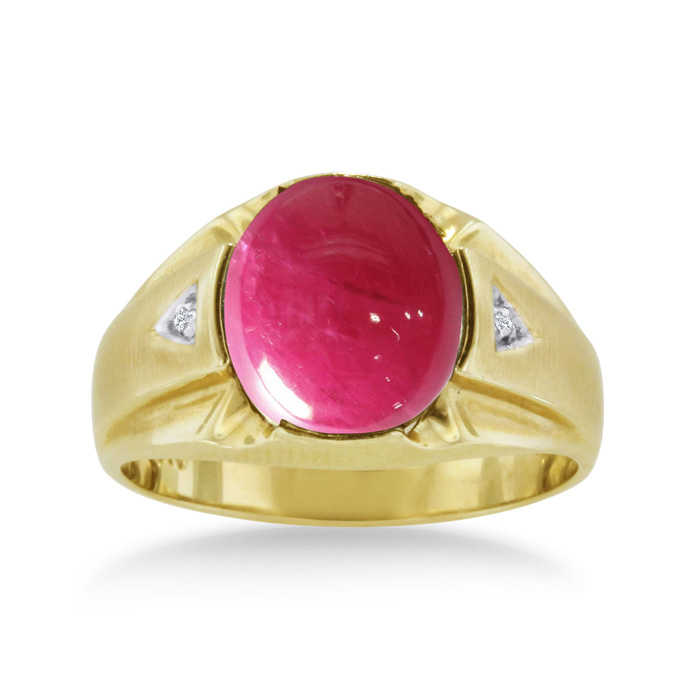 4 1/2 Carat Oval Cabochon Created Ruby & Diamond Men's Ring Crafted in Solid Yellow Gold