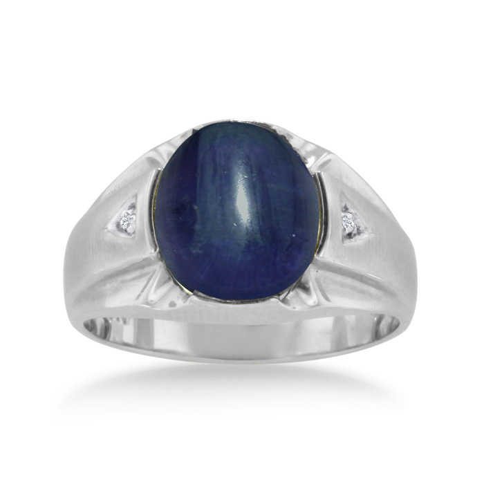 4 1/2 Carat Oval Cabochon Created Sapphire & Diamond Men's Ring Crafted in Solid 14K White Gold