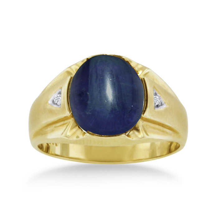 4 1/2 Carat Oval Cabochon Created Sapphire & Diamond Men's Ring Crafted in Solid 14K Yellow Gold