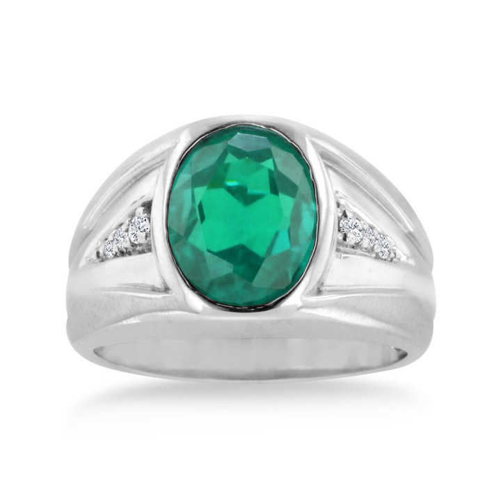 4 1/2 Carat Oval Created Emerald Cut & Diamond Men's Ring Crafted in Solid 14K White Gold