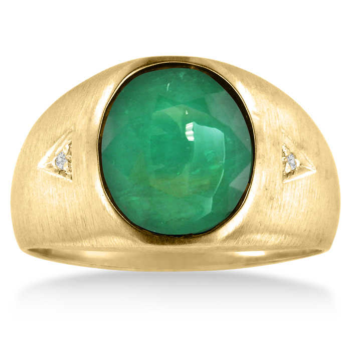 4 1/2 Carat Oval Created Emerald Cut & Diamond Men's Ring Crafted in Solid 14K Yellow Gold