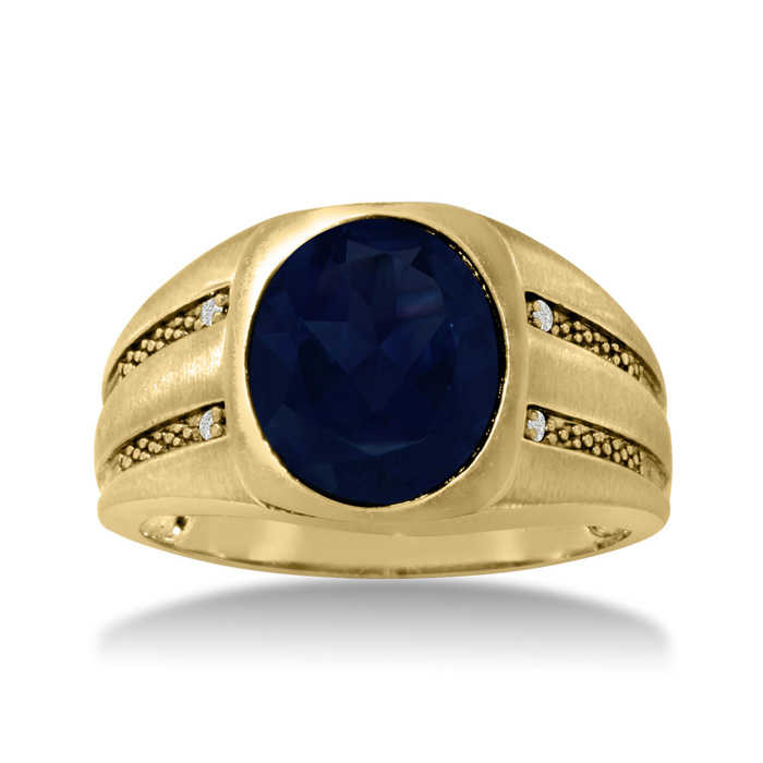 4 1/2 Carat Oval Created Sapphire & Diamond Men's Ring Crafted in Solid 14K Yellow Gold