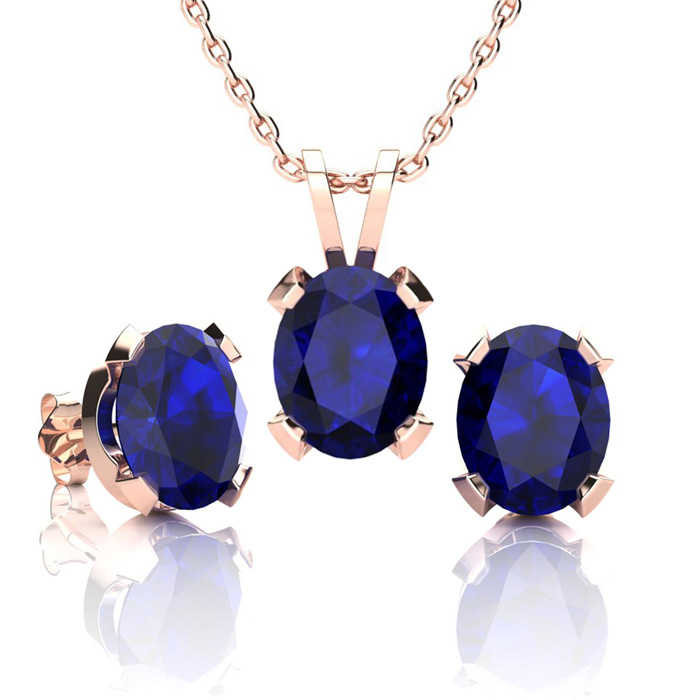 5 Carat Oval Shape Sapphire Necklace & Earring Set in 14K Rose Gold Over Sterling Silver UK - GOOFASH - Womens JEWELRY