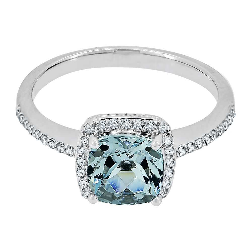 Aquamarine & Lab-Created White Sapphire Ring in Sterling Silver - Helzberg Diamonds USA - GOOFASH - Womens JEWELRY
