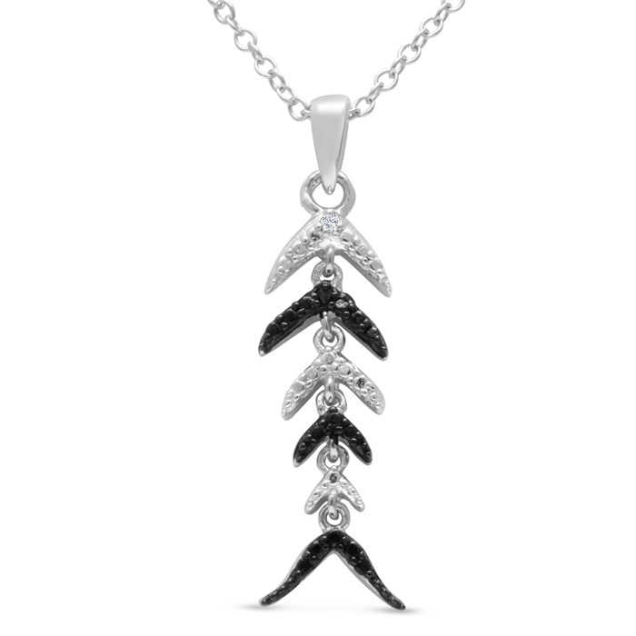 Black & White Diamond Fish Scale Necklace Crafted in Solid Sterling Silver