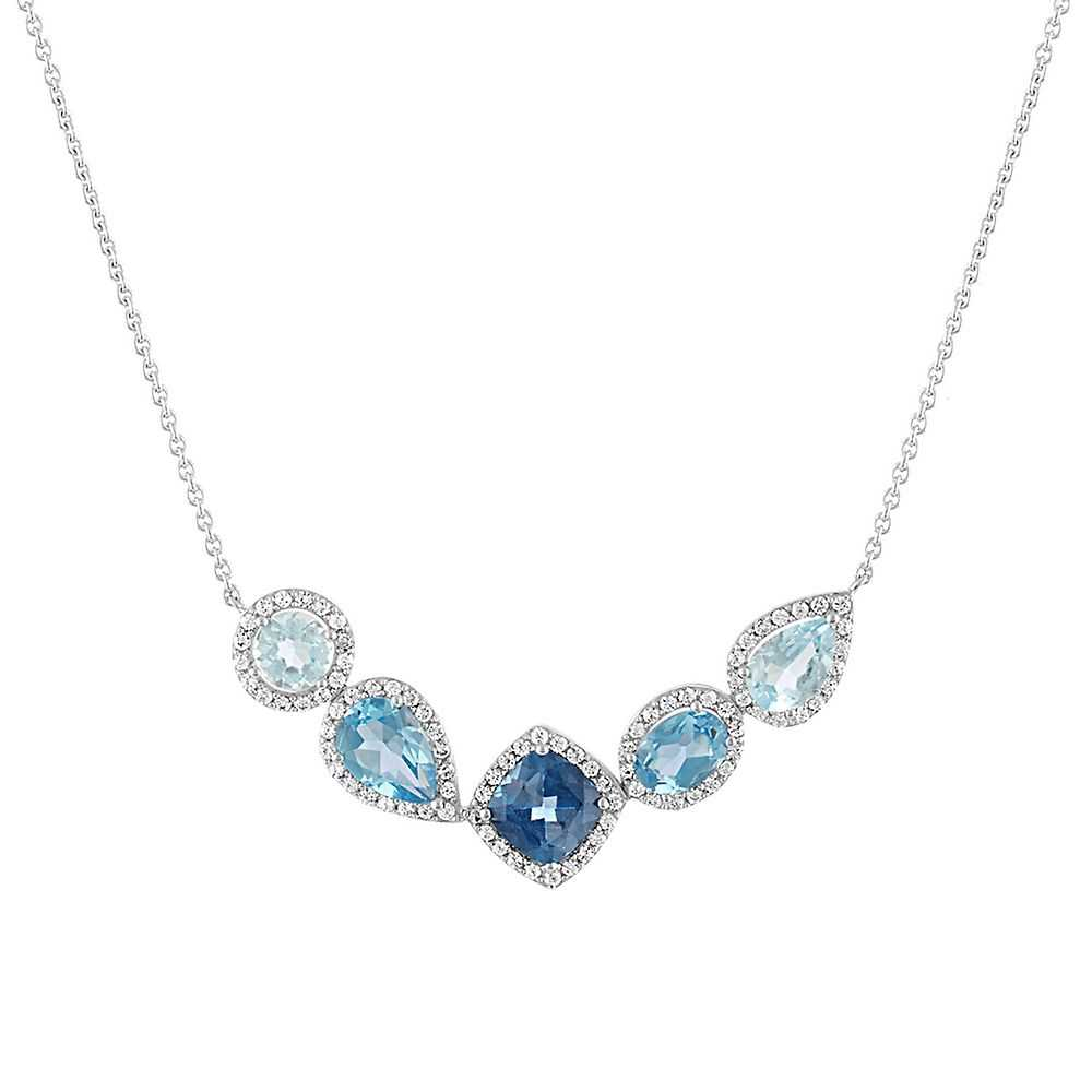 Blue Topaz & Lab-Created White Sapphire Necklace in Sterling Silver - Helzberg Diamonds USA - GOOFASH - Womens JEWELRY