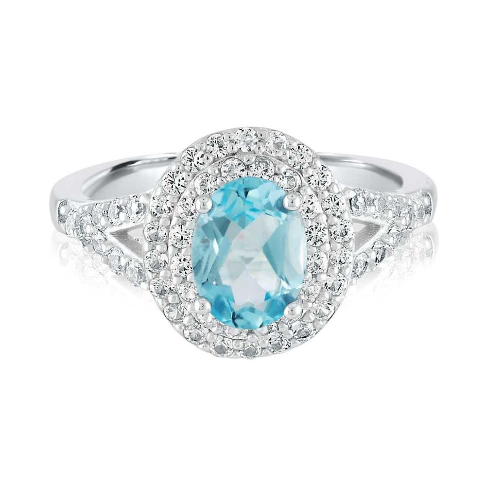 Blue Topaz & Lab-Created White Sapphire Ring in Sterling Silver - Helzberg Diamonds USA - GOOFASH - Womens JEWELRY