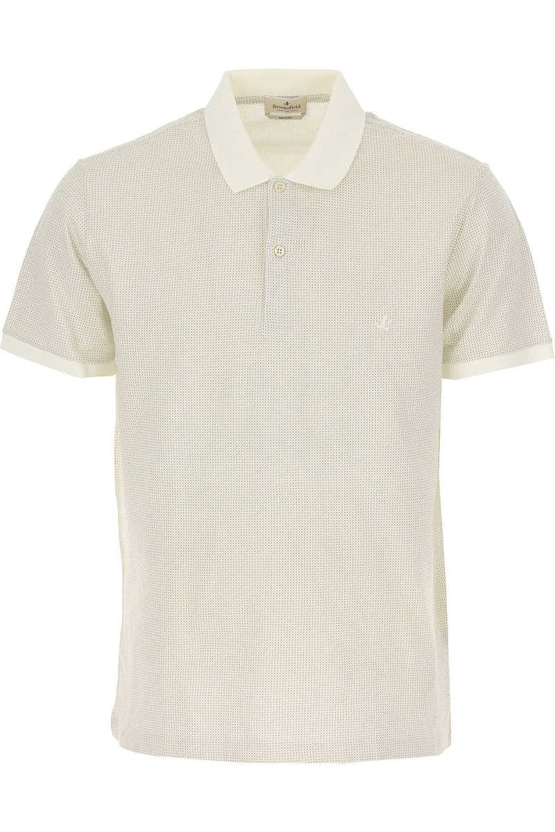 Brooksfield Polo Shirt for Men On Sale Denim Off White UK - GOOFASH - Mens POLOSHIRTS