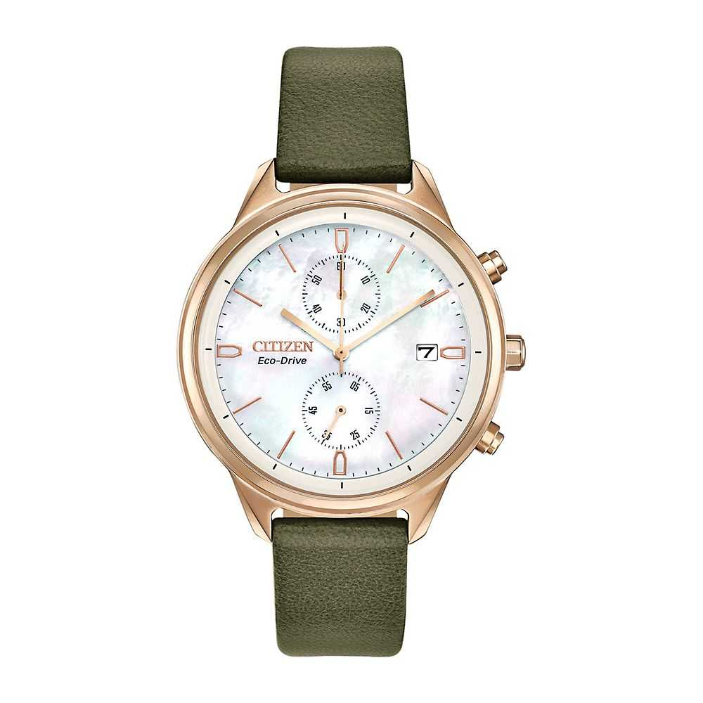 Citizen® Eco-Drive™ Chandler Chronograph Vegan Leather Ladies' Watch - Citizen Eco-Drive USA - GOOFASH - Womens WATCHES