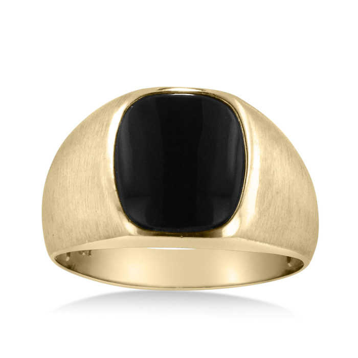 Cushion Cut Black Onyx Men's Ring Crafted in Solid 14K Yellow Gold UK - GOOFASH - Mens JEWELRY