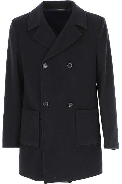 Daniele Alessandrini Men's Coat Navy Blue - GOOFASH