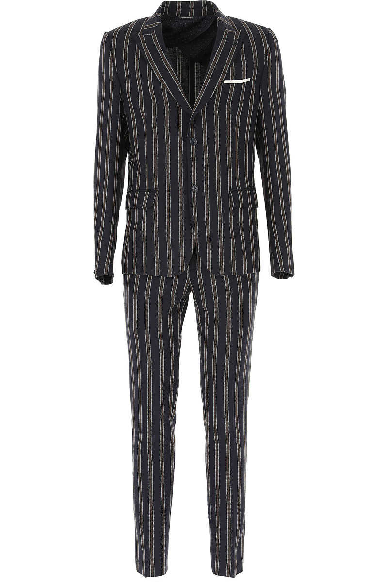 Daniele Alessandrini Men's Suit On Sale Dark Blue - GOOFASH