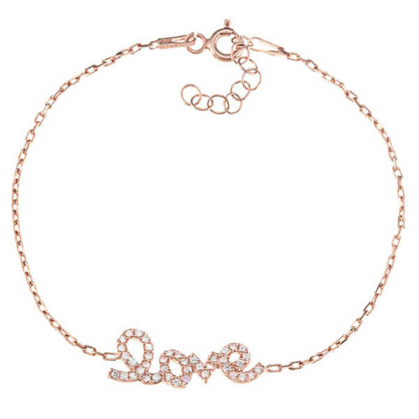 Delicate Love Rose Gold-Plated Cubic Zirconia Bracelet in Sterling Silver