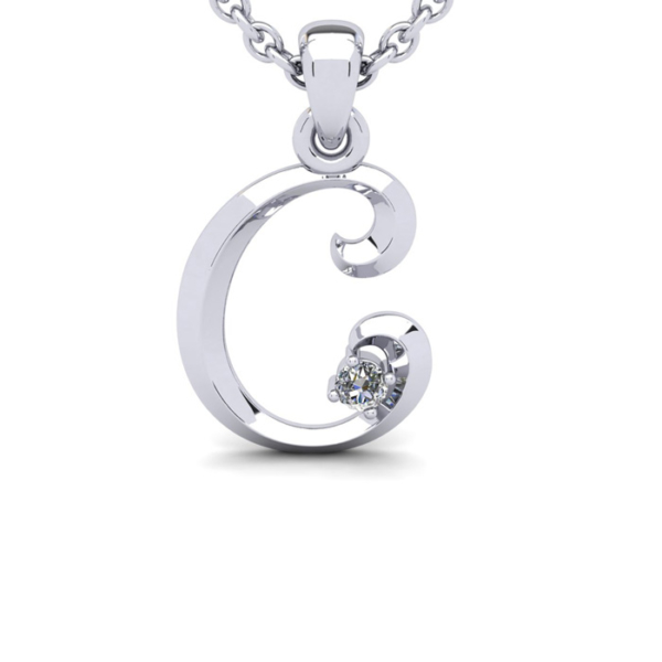 Diamond Accent C Swirly Initial Necklace in 14K White Gold (2 g) w/ Free 18 Inch Cable Chain