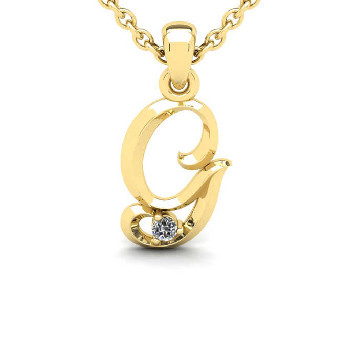 Diamond Accent G Swirly Initial Necklace in Yellow Gold (1.8 g) w/ Free 18 Inch Cable Chain