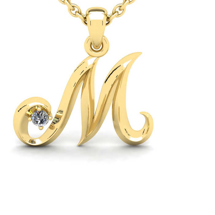 Diamond Accent M Swirly Initial Necklace in 14K Yellow Gold (2 g) w/ Free 18 Inch Cable Chain