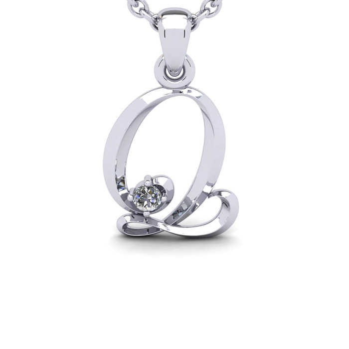 Diamond Accent Q Swirly Initial Necklace in White Gold (1.8 g) w/ Free 18 Inch Cable Chain