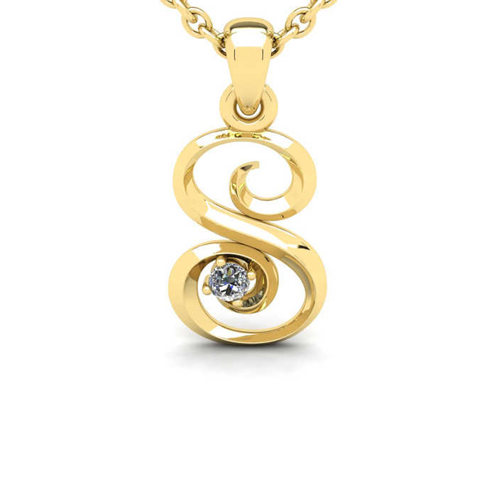 Diamond Accent S Swirly Initial Necklace in Yellow Gold (1.8 g) w/ Free 18 Inch Cable Chain