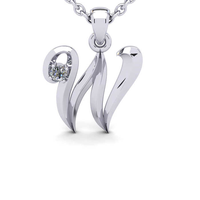 Diamond Accent W Swirly Initial Necklace in White Gold (1.8 g) w/ Free 18 Inch Cable Chain