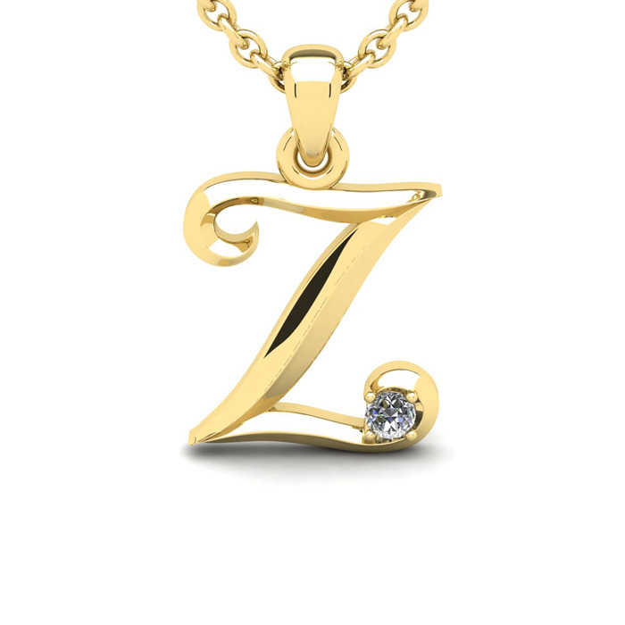 Diamond Accent Z Swirly Initial Necklace in 14K Yellow Gold (2 g) w/ Free 18 Inch Cable Chain