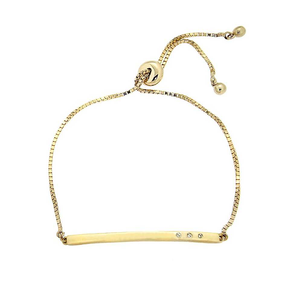Diamond Bar Bolo Bracelet in 10K Yellow Gold - Helzberg Diamonds USA - GOOFASH - Womens JEWELRY
